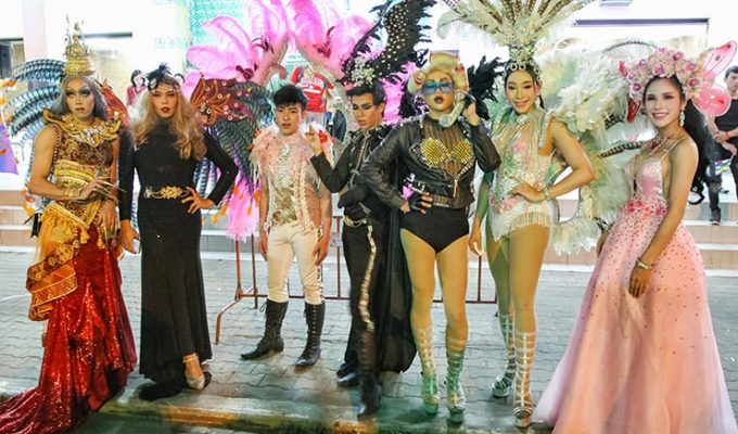 Extravagantly dressed participants posing at Chiang Mai Pride, gay parade in Chiang Mai, Thailand, photo by Ivan Kralj