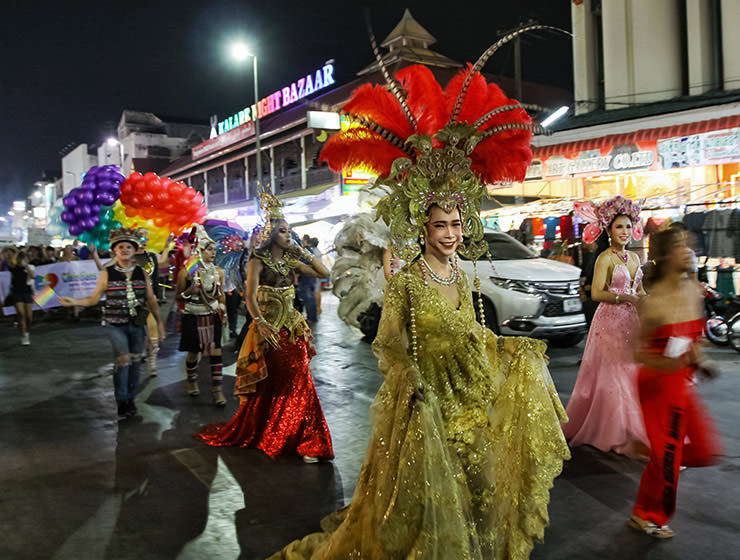 Ladyboy in an extravagant gown marching at Chiang Mai Pride, gay parade in Chiang Mai, Thailand, photo by Ivan Kralj