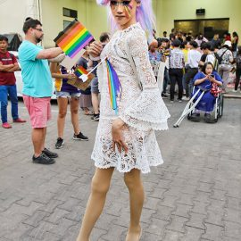 Young ladyboy with rainbow colored tears posing at Chiang Mai Pride, gay parade in Chiang Mai, Thailand, photo by Ivan Kralj