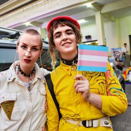 Two caucasian participants posing at Chiang Mai Pride, gay parade in Chiang Mai, Thailand, photo by Ivan Kralj