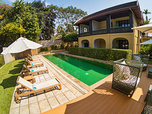 Swimming pool in the backyard of The Apsara Rive Droite, a boutique hotel in Luang Prabang, Laos, photo by Ivan Kralj