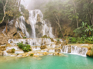 Kuang Si Falls, the famous waterfalls one can visit and swim in close to Luang Prabang, Laos, photo by Ivan Kralj