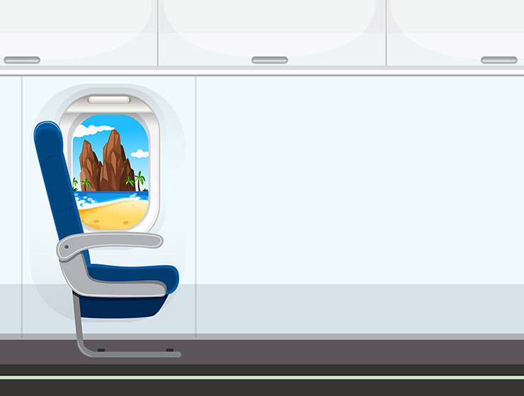 Vector graphic illustration of a seat in the plane, by Vecteezy.com