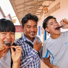 Cambodians eating tarantulas, crickets and scorpions at Fear Factor Challenge, a Backstreet Academy cooking class in Siem Reap, Cambodia, the country where people love eating insects, photo by Ivan Kralj