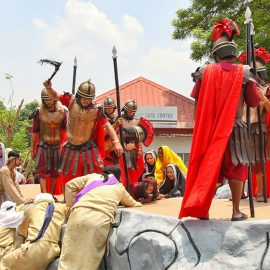 The crucifixion in Pampanga, San Fernando, is the highlight of the Maleldo 2019, Holy Week Philippines, here Roman soldier hitting a woman who tried to help Jesus Christ before crucifixion in Santa Lucia, photo by Ivan Kralj