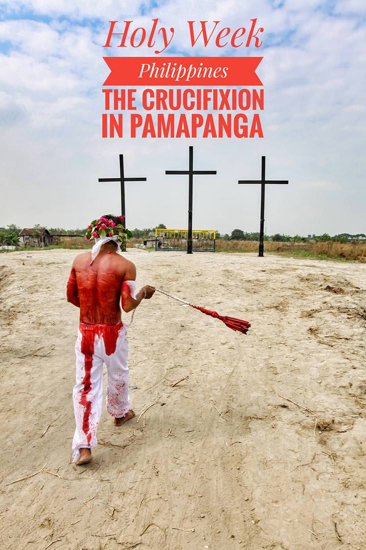 Crucifixion in Pampanga is the central event of Maleldo, the Holy Week Philippines. Before devotees get crucified on Good Friday, streets of San Fernando get filled with magdarame, flagellants who try to relive Christ's passion by carrying crosses, crawling or whipping themselves. Maleldo in San Pedro Cutud is the bloodiest Christian holiday one can imagine!