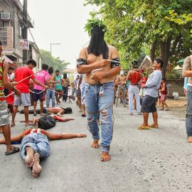 Magdarame devotees relive Christ's passion by carrying heavy crosses and flagellating themselves in San Fernando, Pampanga, during the Maleldo 2019, Holy Week Philippines, photo by Ivan Kralj