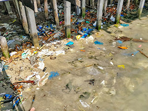 Plastic bags and other plastic waste under the pier in Ban Phe, the departure point to the no-plastic island Koh Samet, a sad example of plastic pollution in Thailand, photo by Ivan Kralj
