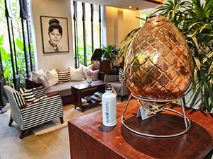 Egg-shaped water refilling station in Jaya House RiverPark hotel in Siem Reap, Cambodia, with a refillable aluminum water that reduces plastic waste created by plastic bottles, photo by Ivan Kralj