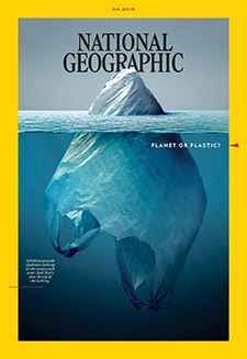 National Geographic June 2018 front cover dedicated to the topic of plastic pollution, with a plastic bag floating in the ocean like an iceberg
