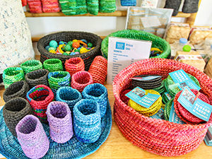 Everyday objects made out of recycled plastic bags in the store of Rehash Trash, Siem Reap's social enterprise that provides job opportunities to the street families in Cambodia, photo by Ivan Kralj