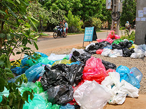 Plastic bags in front of the premises of Rehash Trash, Siem Reap's social enterprise turning plastic waste into decorative and usable products, Cambodia, photo by Ivan Kralj