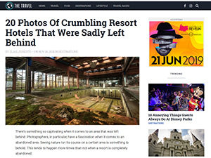 Screenshot of TheTravel.com website, article on 20 abandoned hotels in the world