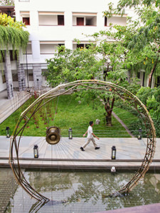The art exhibits in the green yard of the Treeline Urban Resort, an eco-friendly hotel in Siem Reap, Cambodia, photo by Ivan Kralj