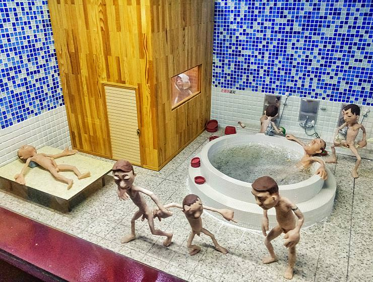 Korean spa or Jjimjilbang scene represented as a diorama in Loveland park on Jeju Island, South Korea, photo by Ivan Kralj