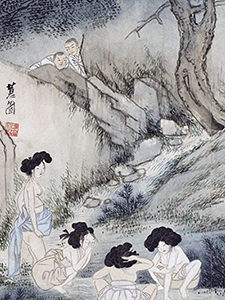 Korean women engaging in bathing in the river on the painting in Gansong Art Museum, Seoul, South Korea