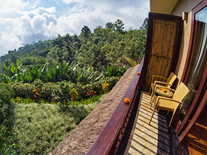 Narrow balcony with jungle views over Northern Bali from Munduk Moding Plantation, nature resort in Bali, Indonesia, photo by Ivan Kralj