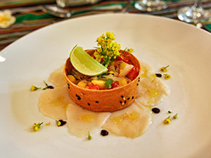 Scallop ceviche with mango and grapefruit served in Settha Palace's Belle Epoque Brasserie, one of the best restaurants in Vientiane, Laos, photo by Ivan Kralj