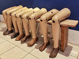 Artificial legs displayed in COPE center in Vientiane, Laos, photo by Ivan Kralj