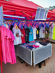 Clothes on sale for 10.000 Kip (1 Euro) at Night Market, the best place to do shopping in Vientiane, Laos, photo by Ivan Kralj
