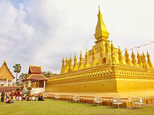 Golden stupa of Pha That Luang, one of the top attractions in Vientiane, Laos, photo by Ivan Kralj