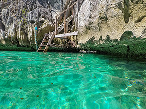 Passage under the rock, connecting two sides of the Twin Lagoon, Coron Island, Palawan, Philippines, photo by Ivan Kralj