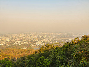 Foggy view of Chiang Mai cityscape, due to burning season in Thailand, photo by Ivan Kralj