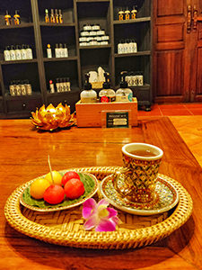 Watermelon, melon and tea served after the massage treatment in Oasis Spa, in Chiang Mai, Thailand, photo by Ivan Kralj
