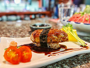 Grilled Fois Gras sushi at Tengoku, Japanese restaurant in Chiang Mai, Thailand, photo by Ivan Kralj