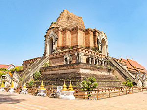 Even when partially crumbled, pyramidal Wat Chedi Luang impresses by its size in Chiang Mai, Thailand, photo by Ivan Kralj
