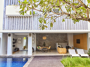 Clean architecture lines of the urban pool villa at Origin Seminyak, one of the best hotels in Bali, Indonesia, photo by Ivan Kralj