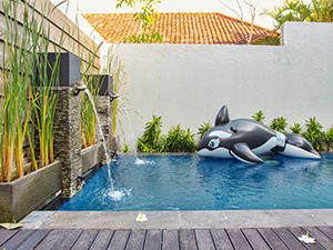 Whale floatie in the pool in Origin Seminyak villa, one of the best hotels in Bali, Indonesia, photo by Ivan Kralj