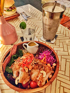 Nourish bowl with grilled barramundi, served at Sea Circus Restaurant & Bar, one of the best places to eat in Seminyak, Bali, Indonesia, photo by Ivan Kralj
