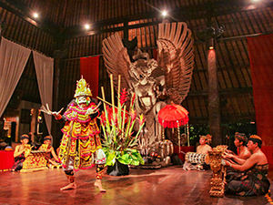 A dancer and gamelan orchestra at the cultural evening in Bale Agung hall, at Tugu Bali, one of the best hotels in Bali, Indonesia, photo by Ivan Kralj
